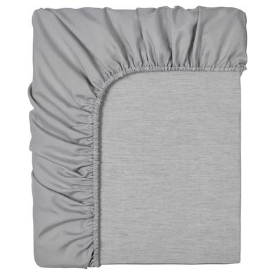 BRUDBORSTE Fitted sheet, grey, 120x200 cm