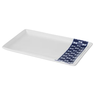 BRUSANDE Plate, blue/white, 25x15 cm