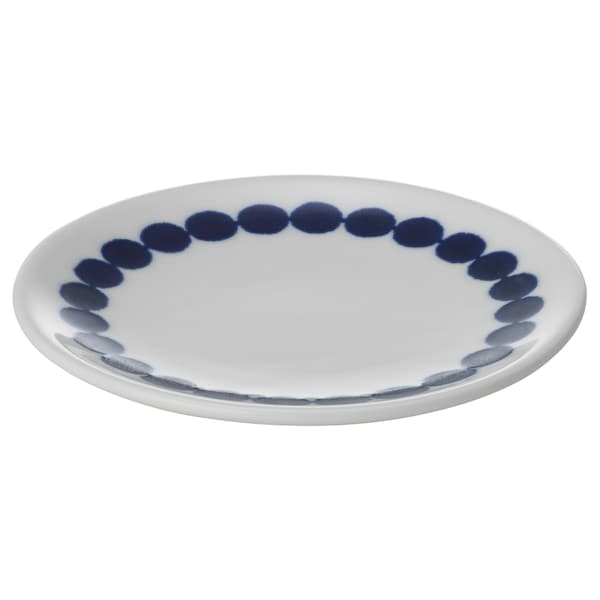 BRUSANDE Plate/sauce dish, blue/white, 10 cm