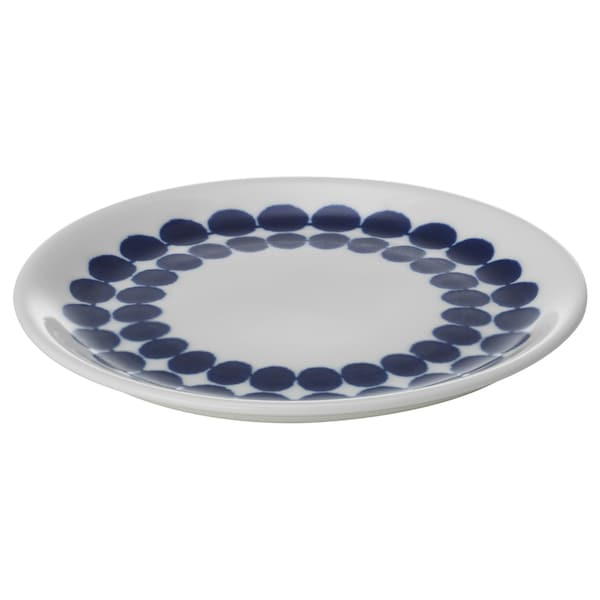 BRUSANDE Side plate, blue/white, 15 cm