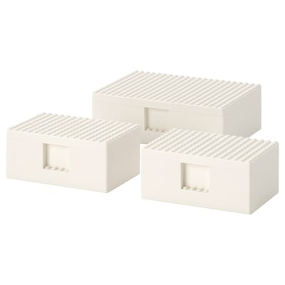 BYGGLEK LEGO® box with lid, set of 3, white