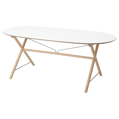 DALSHULT Table, white/birch, 185x90 cm