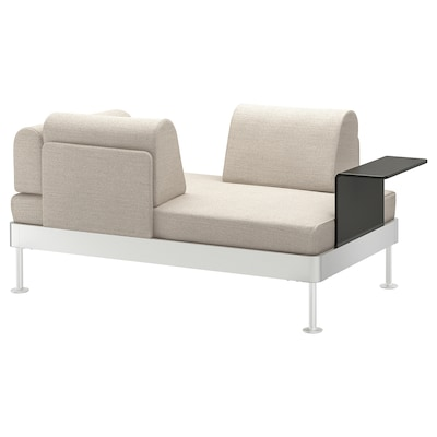 DELAKTIG 2-seat sofa with side table, Gunnared beige