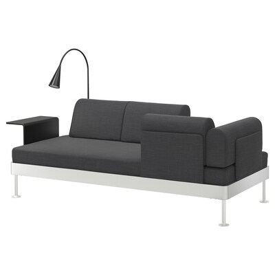 DELAKTIG 3-seat sofa w side table and lamp, Hillared anthracite