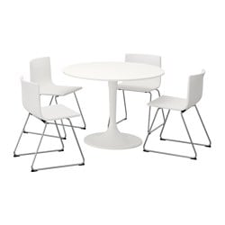 DOCKSTA /  BERNHARD table and 4 chairs, white, white