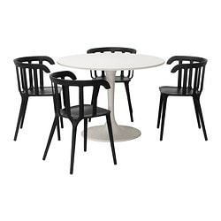 DOCKSTA /  IKEA PS 2012 table and 4 chairs, white, black