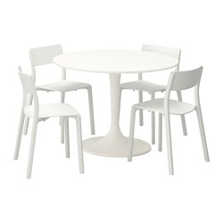 DOCKSTA /  JANINGE table and 4 chairs, white, white