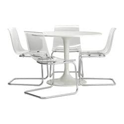 DOCKSTA /  TOBIAS table and 4 chairs, white, transparent