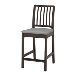 EKEDALEN bar stool with backrest, dark brown, Orrsta light grey