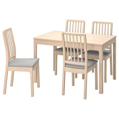 EKEDALEN / EKEDALEN Table and 4 chairs, birch/Orrsta light grey, 120/180 cm