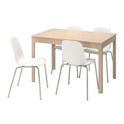 EKEDALEN /  LEIFARNE table and 4 chairs, birch, white