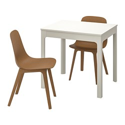 EKEDALEN /  ODGER table and 2 chairs, white, brown