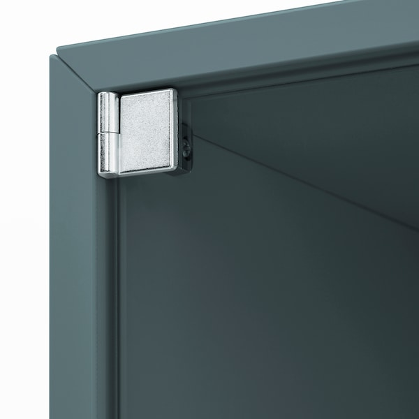 EKET Wall cabinet with glass door, grey-turquoise, 35x35x35 cm