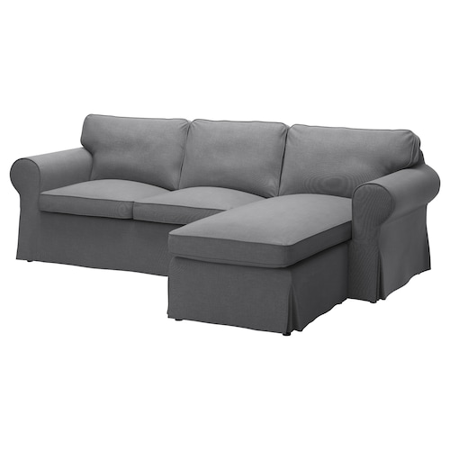 EKTORP 3-seat sofa with chaise longue/Nordvalla dark grey 252 cm 88 cm 88 cm 163 cm 45 cm