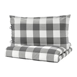 EMMIE RUTA quilt cover and pillowcase, dark grey, white