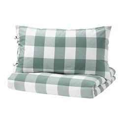 EMMIE RUTA quilt cover and pillowcase, green, white