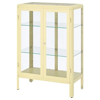 FABRIKÖR Glass-door cabinet, light yellow, 81x113 cm