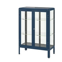 FABRIKÖR glass-door cabinet, blue black-blue