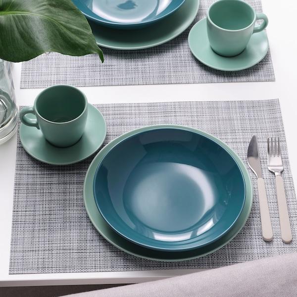 FÄRGKLAR Deep plate, glossy dark turquoise, 23 cm