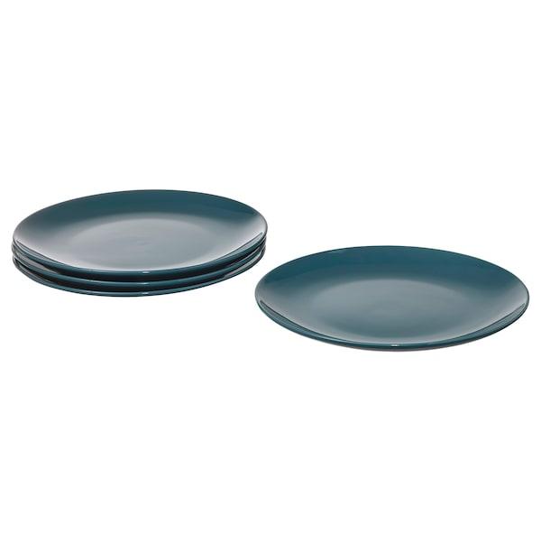 FÄRGKLAR Plate, glossy dark turquoise, 26 cm