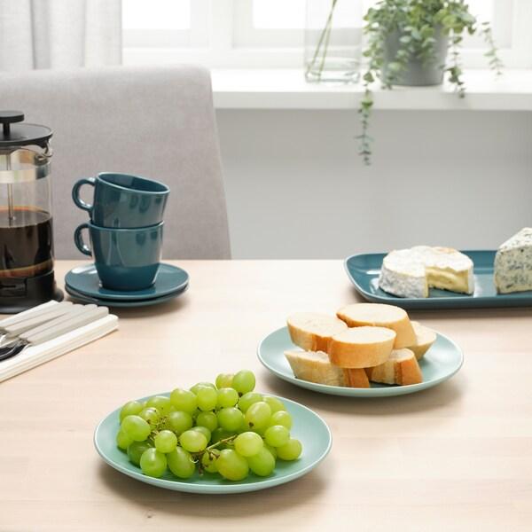 FÄRGKLAR Side plate, matt light turquoise, 20 cm