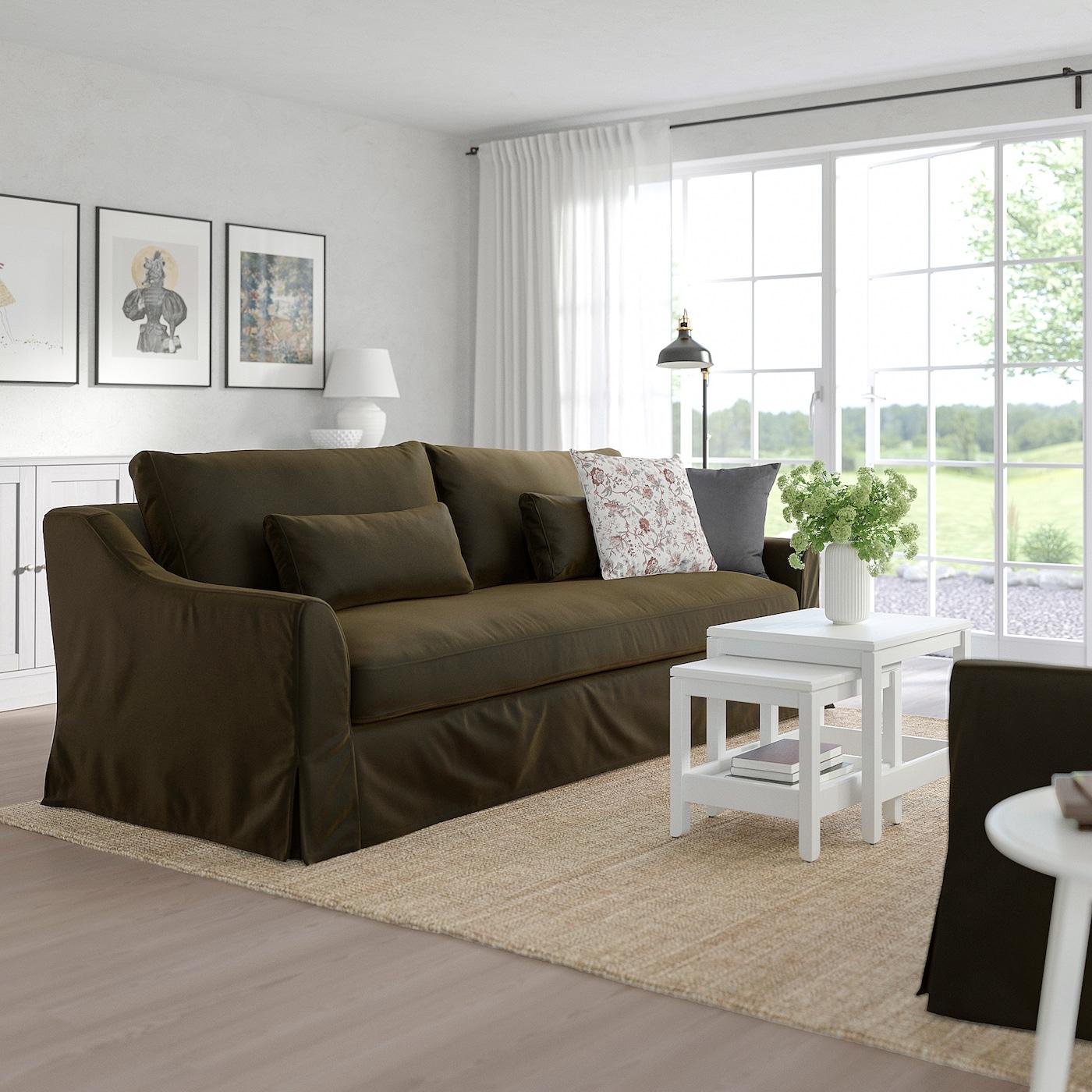 Farlov 3 Seat Sofa Djuparp Dark Olive Green Ikea