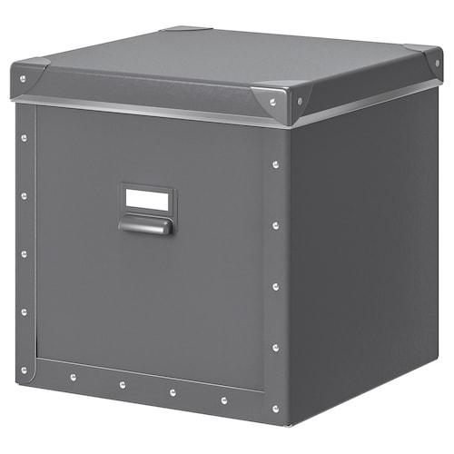 FJÄLLA storage box with lid dark grey 30 cm 31 cm 30 cm 30 cm