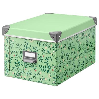 FJÄLLA storage box with lid light green/flower patterned 35 cm 26 cm 36 cm 25 cm 20 cm