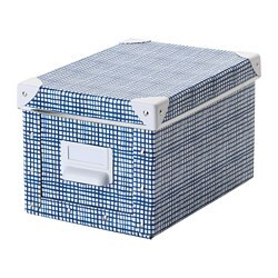 FJÄLLA storage box with lid, white, blue
