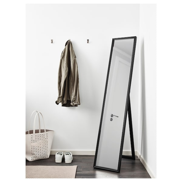 FLAKNAN Standing mirror, black, 30x150 cm