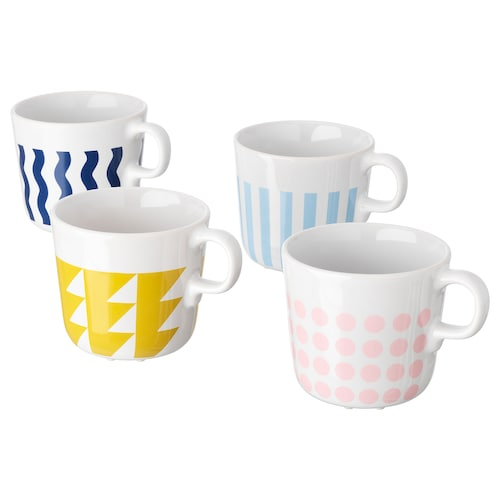 FRAMKALLA mug mixed patterns 8 cm 21 cl 4 pieces