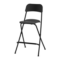 FRANKLIN bar stool with backrest, foldable, black, black