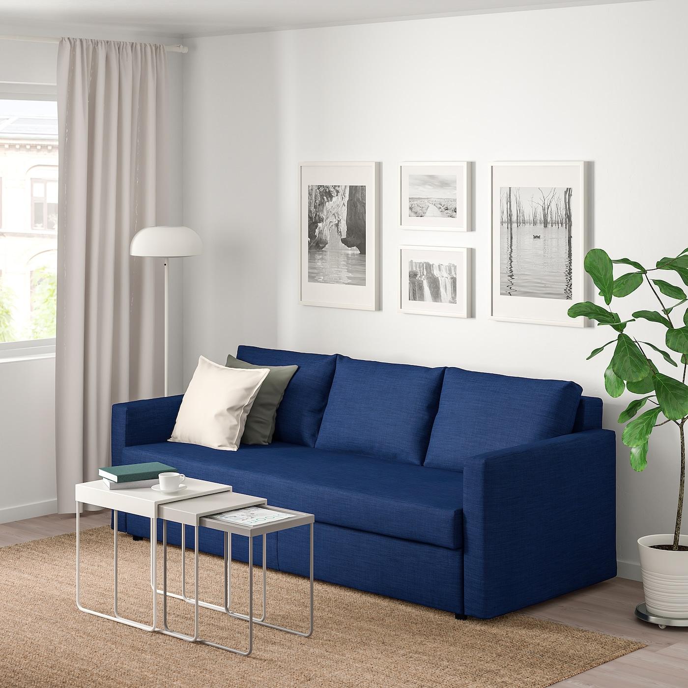 Slaapbank Ikea Karlstad.Friheten 3 Seat Sofa Bed Hyllie Dark Grey Ikea