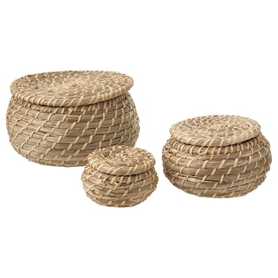 FRYKEN Box with lid, set of 3, seagrass