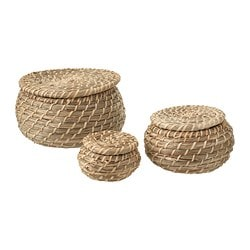 FRYKEN box with lid, set of 3, seagrass sea grass