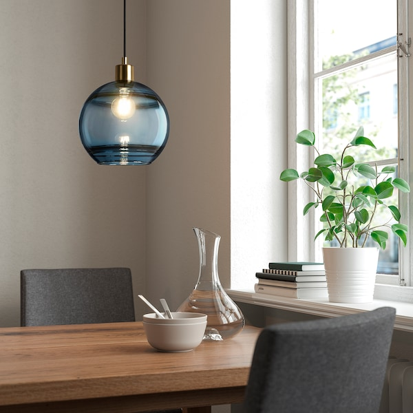 FUNDSHULT Pendant lamp shade, blue glass/lined