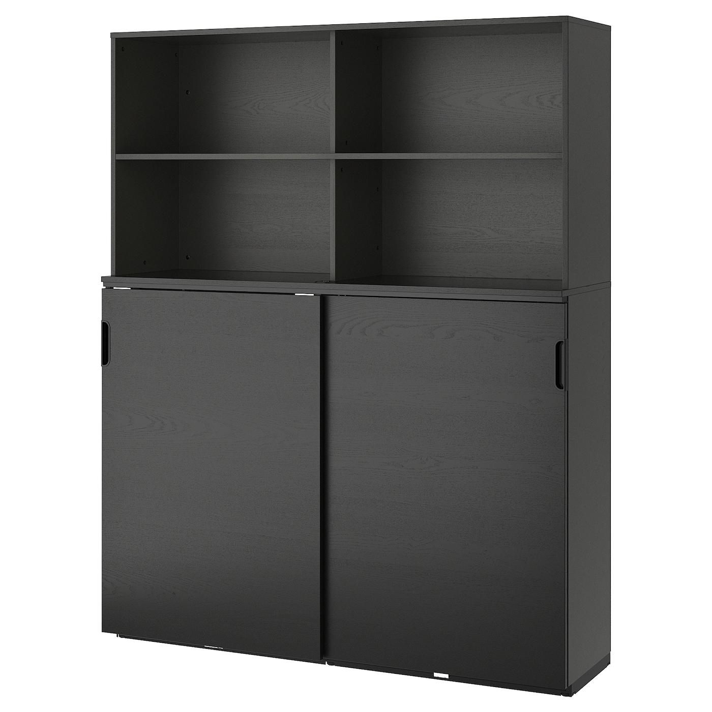 Galant Storage Combination W Sliding Doors Black Stained Ash Veneer