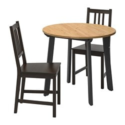 GAMLARED /  STEFAN table and 2 chairs, light antique stain, brown-black