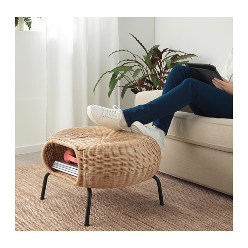 GAMLEHULT Footstool with storage IKEA Hand-woven by experienced craftspeople, which makes each footstool unique.
