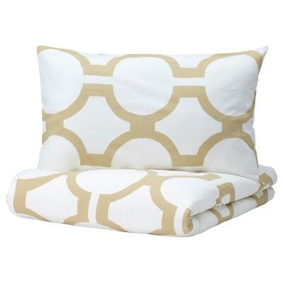 GLANSBLOMMA Duvet cover and 2 pillowcases, white/light beige-green, 200x230/50x80 cm