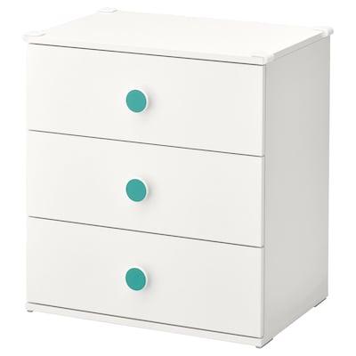 GODISHUS Chest of 3 drawers, white, 60x64 cm