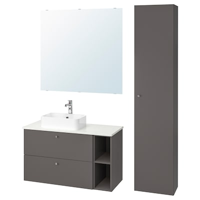 GODMORGON/TOLKEN / HÖRVIK Bathroom furniture, set of 7, Gillburen dark grey/marble effect Brogrund tap, 102x49x72 cm