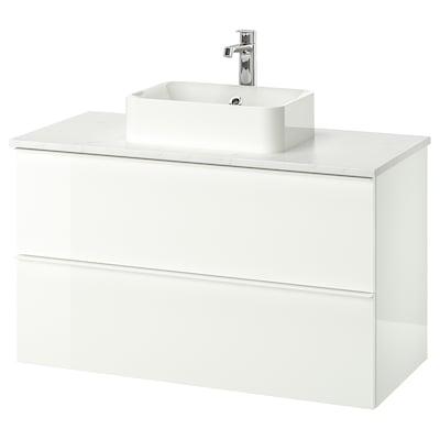 GODMORGON/TOLKEN / HÖRVIK wsh-stnd w countrtop 45x32 wsh-bsn high-gloss white/marble Brogrund tap 102 cm 100 cm 49 cm 72 cm