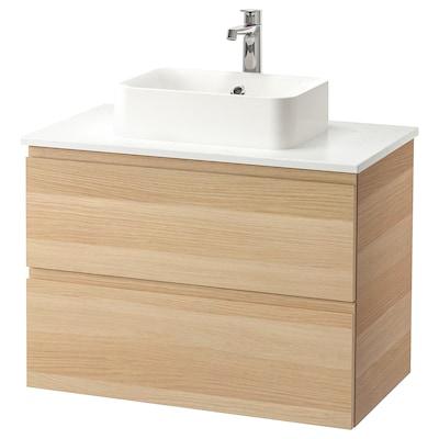 GODMORGON/TOLKEN / HÖRVIK wsh-stnd w countrtop 45x32 wsh-bsn white stained oak effect/marble effect Brogrund tap 82 cm 80 cm 49 cm 72 cm