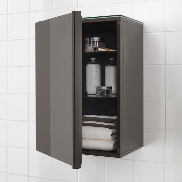 GODMORGON Wall cabinet with 1 door, high-gloss grey, 40x32x58 cm