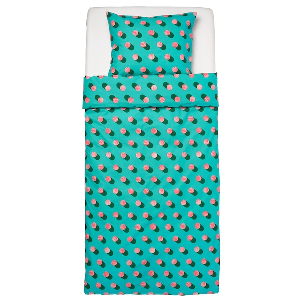 GRACIÖS Duvet cover and pillowcase, dotted/pink turquoise, 150x200/50x80 cm