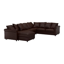 GRÖNLID corner sofa, 5-seat, with chaise longue, Kimstad dark brown