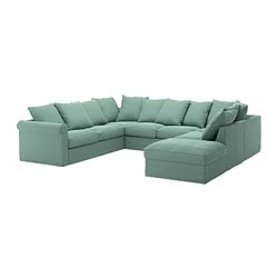 GRÖNLID u-shaped sofa, 6 seat, with open end, Ljungen light green