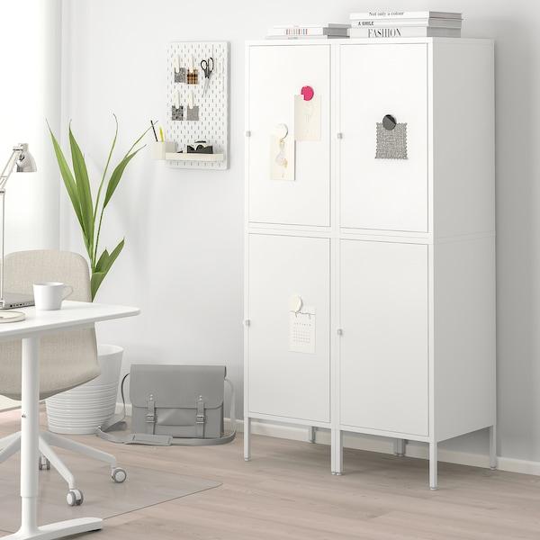 HÄLLAN Storage combination with doors, white, 90x47x167 cm
