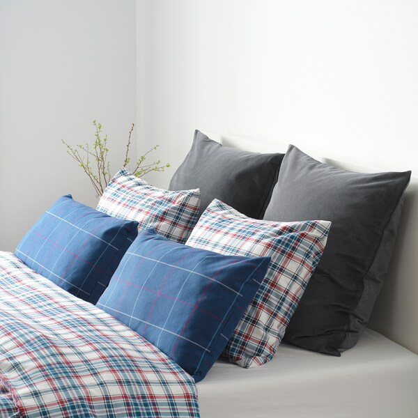 HÄSSLEBRODD cushion blue/multicolour check 40 cm 65 cm 400 g 610 g